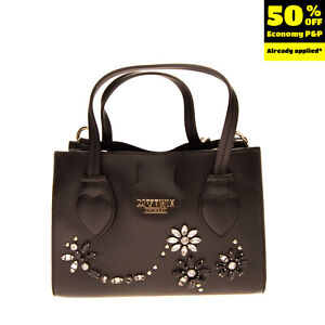 RRP €110 MY TWIN TWINSET Tote Bag Grainy PU Leather Rhinestones Flowers Front