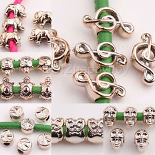20/40PCS CCB Rose Gold Painted Big Hole Spacer Loose Beads Note Skull Owl 7Style