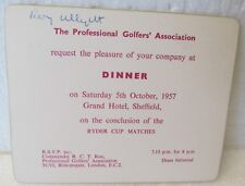 1957 RYDER CUP INVITATION TO THE DINNER AT THE CONCLUSION OF THE MATCHES