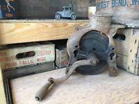 Antique Cast Iron Corn Sheller Fulton Primitive Hand Crank Vintage Farm Tool