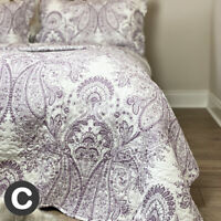 Luxury Cotton French Paisley Lavender Purple White Quilted Bedspread Scalloped