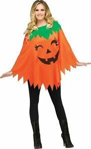 Orange Pumpkin Poncho Adult Womens Costume Accessory NEW One Size FW