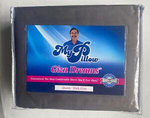 New My Pillow Giza Dreams Queen Sheet Set Dark Grey Stripe Egyptian Cotton