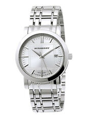 Burberry BU1351 Silver Tone Check Dial Women's Watch With Box Brand New