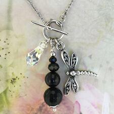 T-Bar Necklace – Dragonfly Charm, Black Onyx & Swarovski Crystal Drop