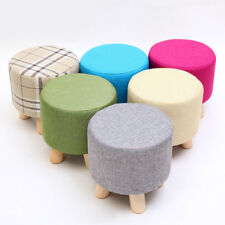 Round Ottoman Stool Small Wooden Soft Rest Chair Quadruped Pouffe Footstool Seat