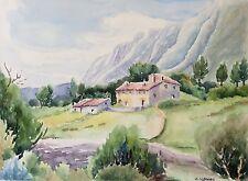 Grande aquarelle Marseille Provence collines signée M Cobourg