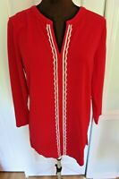 Lands' End MEDIUM 10-12 Red Embellished Cotton Stretch Knit Tunic Top 3/4 Slv