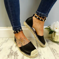New Women Flat Ankle Strap Stud Summer Espadrilles Sandals Shoes Beach Plus Size