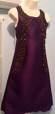 Purple Beaded Silk A-Line Shift Dress by MIU MIU Prada Sz.40 (IT)/Sz.4 (USA)