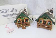 Dept 56 Original Snow Village FISHERMAN'S NOOK Log CABINS 2 Buildings Lights BOX