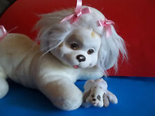 Puppy Surprise Hasbro 1991 Vintage Mother Dog White Pink Bows with 1 Baby GUC