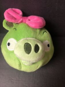 "Angry Birds Plush Girl Pig Pink Bow Stuffed Animal Bird Toy Bad Piggies 5"" Green"