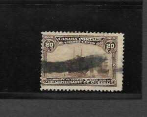 Canada Scott #103 used 20c yellow brown Quebec Tercentenary Issue 1908 fine