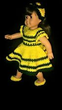 """Handmade doll clothes for 18"""" American Girl doll crochet dress fits 18"""" doll"""