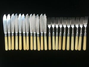 Vintage 22-piece silver plated fish cutlery set, Joseph Rogers & Sons, Sheffield