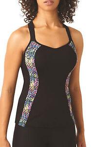 Panache 7345 Ultimate Sports Running Bra Vest Top in Black Geo Print