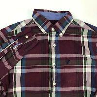 American Eagle Button Up Shirt Men's Size Medium Long Sleeve Maroon White Green