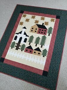 """""""All Around Town"""" Handmade Quilt, Stars,Cabins,Trees 100% Cotton,Machine Quilted"""