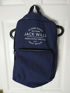 Jack Wills  Navy Blue & Canvas Backpack/Rucksack School/College Bag University