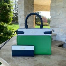 NWT KATE SPADE STACI COLORBLOCK MD SATCHEL BAG LEATHER/WALLET OPTIONS GREEN/WHIT