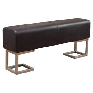 Genuine Real Leather Artisan Bench - Handmade with Silver Iron Legs - Grey
