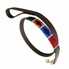 Genuine Leather Waxed Embroidered Polo Dog Lead