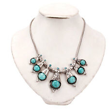New Women Turquoise Chain Seven Turquoises Pendants Fashion Necklace Blue Silver
