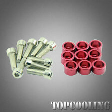 M8 Car Engine Fender Bolt Flat Dress Up Screw Bumper Washer Kit Red Aluminum