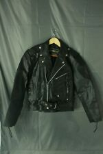 Vintage American Top Black Multi Zipper Motorcycle Leather Jacket Size 40