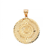 10K Solid Yellow Gold Aztec Calendar Pendant - Sun Round Medal Necklace Charm