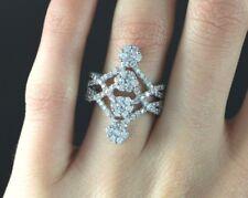 SJM 18K White Gold 1.50ct Round Cluster Diamond Cocktail Ring Size 7.5