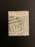 Cyprus 1881 1/2pi Emerald Green Sc# 11 Excellent Used Stamp