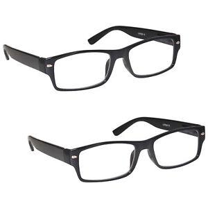 2 Packs Mens Large Designer Style Reading Glasses Spring Hinges UV Reader RR6