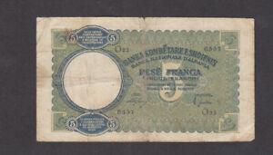5 FRANGA VG BANKNOTE FROM ITALIAN OCCUPIED ALBANIA 1939 PICK-6