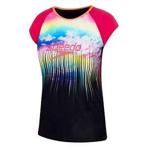 NEW Speedo Rainbow Logo Cap Sleeve Rashie / SunShirt 7757A/7650 - Girls Swimwear