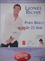 PUBLICITÉ 2001 RADIO CHÉRIE FM AVEC LIONEL RICHIE EN CONCERT PARIS BERCY