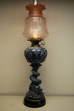 ANTIQUE ENGLISH MAJOLICA STONEWARE KEROSENE OIL GWTW  BANQUET PORCELAIN LAMP