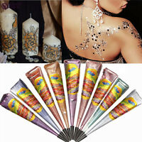 Natural Herbal Henna Cones Temporary Tattoo Body Art Paint Mehandi Ink 10 Color