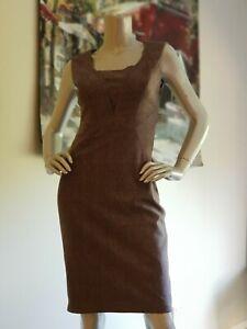 TED BAKER women's wool Checked Sleeveless work sheath DRESS. Size 1/ AUS 6