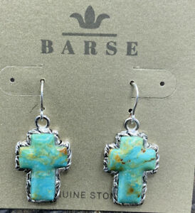 Barse Jacquard Cross Earrings-Turquoise- Silver Overlay- NWT