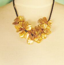 """16"""" Yellow Flower Mother of Pearl Shell Seed Bead Handmade Bali Choker Necklace"""