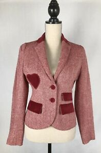 Revival Wool Blend Blazer in Red - Size 10 - Heart Patches