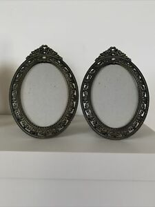 Vintage Antique Look Oval Picture Frames 4.5x3 Inches Metal & Glass Frames
