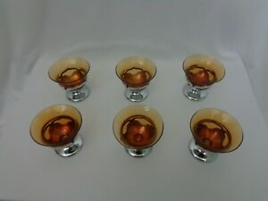 Vintage Amber Farber 6 Cordial Glasses with Small Stem