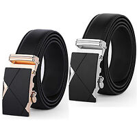 Business Casual Men's Genuine Black Leather Waist Strap Belts Automatic Buckle