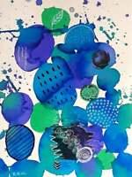 BULLES DE LAGON Toile Abstraite Originale Sophie Queuniez, cotée Akoun/Artprice
