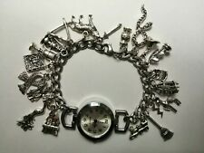 Handmade Silver HARRY POTTER Themed Charm Bracelet Watch with 20 Charms