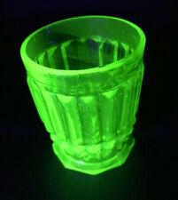 Antique French Glass Engraved Green Uranium Vaseline Glass