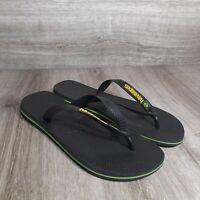 Men's Havaianas Black Flip Flop Sandals with Brazil Flag Size 10/11 Eur 45/46